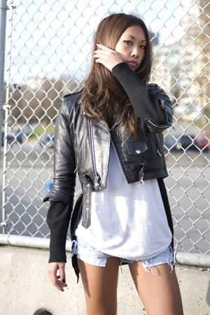 vintage jacket - wilfred sweater - wilfred top - Levis shorts