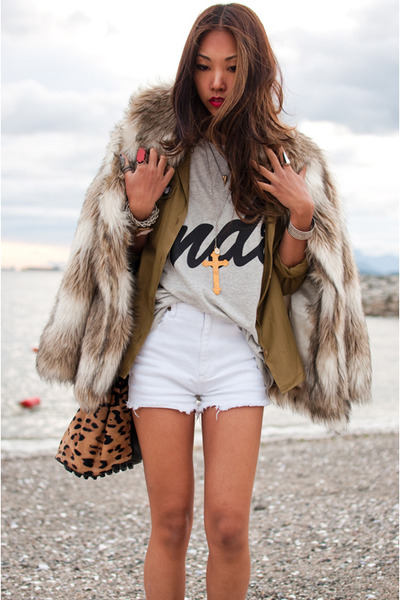 beige H&M coat - green vintage shirt - white Yes Style t-shirt - white vintage s