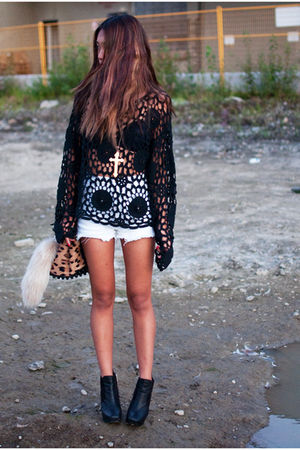 black knit crochet Shop Calico sweater - black sam edelman boots