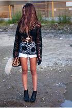 black knit crochet Shop Calico sweater - black sam edelman boots
