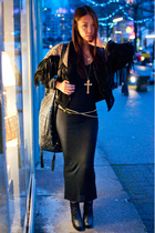 black wilfred dress - brown vintage jacket - black sam edelman boots - black Chr