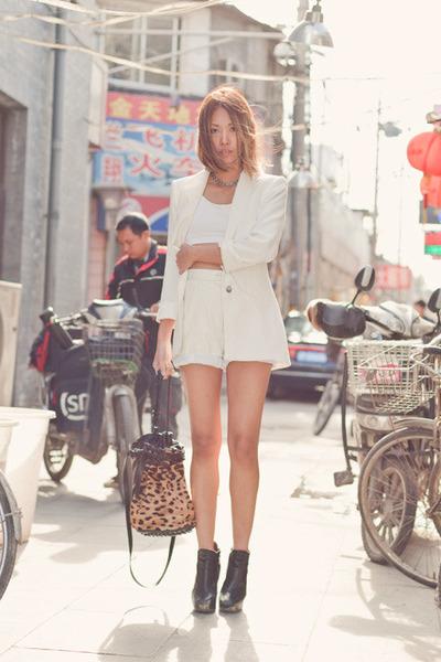 white Zara blazer - tan Alexander Wang purse - white vintage shorts - white spor