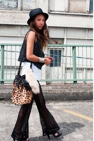 black vintage pants - vintage vest - black Zara shoes - beige Alexander Wang pur