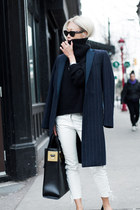 navy Mango coat - black turtleneck knit Yesstyle sweater