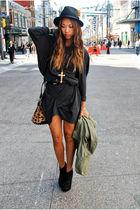 beige Alexander Wang bag - black BCBG boots - gray JNBY dress