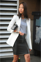 white boyfriend Zara blazer - black Zara shoes - black studded CNC purse