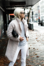 light pink H&M coat - white Blank NYC Jeans jeans - black Alexander Wang purse