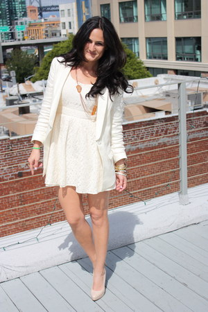 white Forever 21 dress - off white Zara blazer - tan Aldo heels