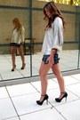 B-ershka-heels-zara-sweater-zara-bag-zara-shorts-vintage-watch