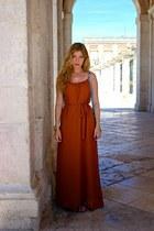 burnt orange Forever 21 dress - sky blue Celine purse - brown Target sandals