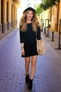 black H&M hat - black Forever 21 boots - black Zara dress