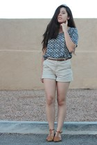 navy printed Forever 21 shirt - beige Forever 21 shorts - brown Forever 21 belt