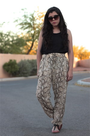 black Forever 21 shirt - brown Forever 21 sunglasses - tan snake print H&M pants