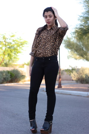brown leopard H&M shirt - black Forever21 pants - dark brown studded Soda wedges