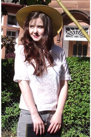gold 50s sun hat Vintage The Jazz Emporium hat - charcoal gray 50s clutch Vintag