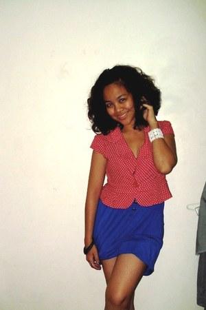 blue Regatta dress - red thrifted top - white from palawan bracelet