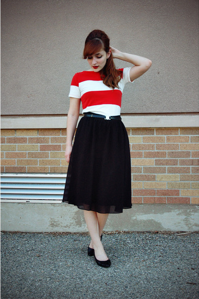 black thrifted shoes - red Forever 21 dress - black midi Forever 21 skirt