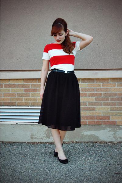 black thrifted shoes - red Forever 21 dress - black midi Forever 21 skirt