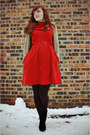 Burnt-orange-modcloth-dress-black-diamond-pattern-walgreens-tights