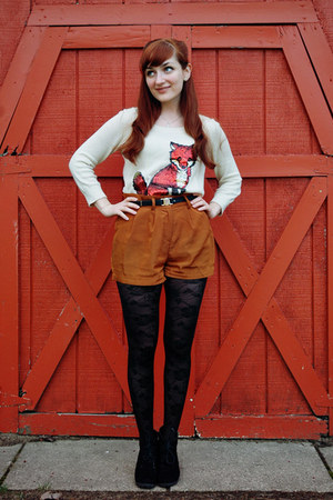 black rose pattern tights - cream sequin fox Cooperative sweater