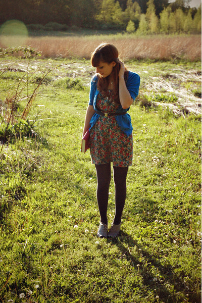 ruby red everly dress - silver modcloth shoes - dark gray Gap tights