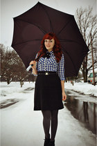 black wool vintage skirt - gray walgreens tights - black Flapper Girl tie