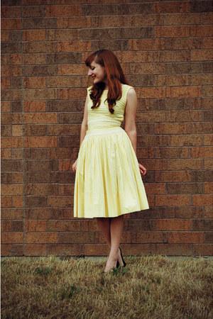 black Target shoes - light yellow vintage dress