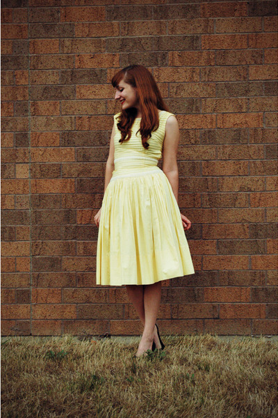 black Target shoes - light yellow vintage dress