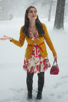 white Forever 21 dress - yellow merona cardigan - red XOXO purse - brown Airwalk