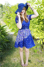 Blue-floral-forever-21-dress-blue-beach-hat-hat