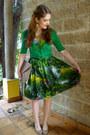 Camel-clutch-asos-purse-green-50s-bernie-dexter-dress-green-cardigan