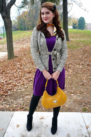 purple via vai dress - brown Fantazia cardigan - yellow Nine West purse - black