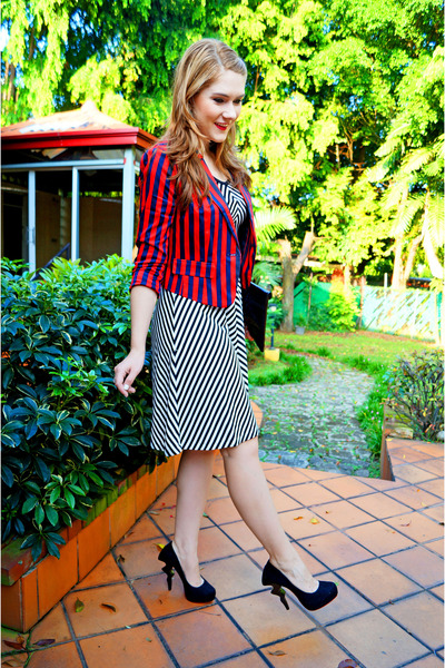 red striped blazer Forever 21 blazer - white striped dress dress