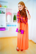 orange maxi dress French Kiss dress - carrot orange plaid shirt Mossimo shirt