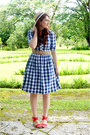 Navy-checkered-dress-shabby-apple-dress-neutral-boat-hat-forever-21-hat