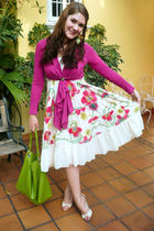white dress - pink Leshop cardigan - beige wild diva shoes - green purse