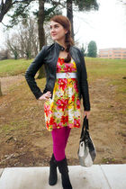 yellow Just Love dress - black Pimkie jacket - pink JC Pennys tights - black Ske