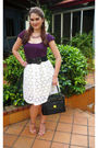 White-skirt-purple-top-black-belt-black-liz-claiborne-purse-purple-steve