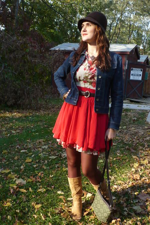 white Forever 21 dress - red Forever 21 skirt - blue Dolce Donna jacket - beige