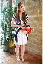 white halter dress Studio F dress - red basket purse bag