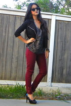 black Forever 21 jacket - crimson zipper Forever 21 pants