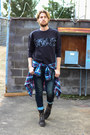 H&M sweatshirt - j shoes boots - Paul Rizk jeans - plaid J Crew shirt