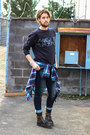 J-shoes-boots-paul-rizk-jeans-plaid-j-crew-shirt-h-m-sweatshirt