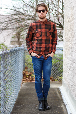 plaid shirt WESC shirt - Kenneth Cole boots - Topman jeans