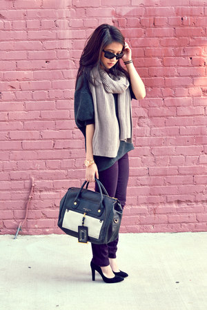 Paige Denim jeans - Theodora &amp; Callum scarf - Prada sunglasses - Schutz pumps