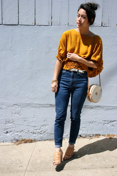 dvf blouse - D&G jeans - Gucci bag - Aldo wedges - gold chain thrifted bracelet