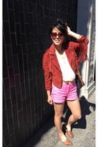Forever 21 jacket - Dooney & Bourke bag - hot pink Mango shorts - vintage flats