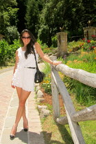 white H&M dress - black Dooney & Bourke bag