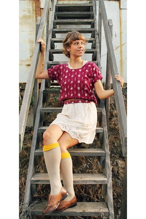 oxfords Kole Haan shoes - DIY dress - knee highs Retro socks