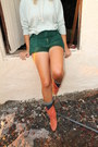 Leather-vintage-boots-flower-diy-scarf-green-corduroy-diy-shorts